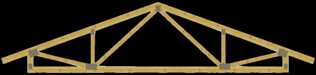 Двухскатные деревянные стропильные фермы с подъемом на МЗП